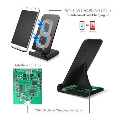 Wireless Charging Qi Hyper Stand Dual 10W SR71 Quick Charge Phone Charger Fast Universal - Sikrox