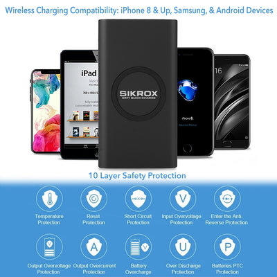 New Portable Charger 10000 mAh Wireless Charging Qi Power Bank SR71 Quick Charge - Sikrox