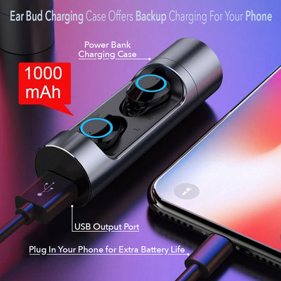 New Sniper Waterproof Earbuds BlueTooth 5.0 True Wireless Earphones 1000 mAh Power Bank Case - Sikrox