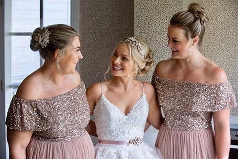 Jasmine and her Bridesmaids smiling on her wedding day featuring the bridal belt and cutom headband