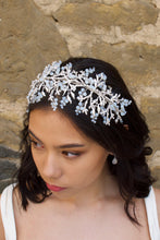 Load image into Gallery viewer, Silver Bridal Headband with Swarovski White opal beads worn on a dark hair bride