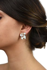 Statement Earring worn by a bride with White Opal Swarovski stones