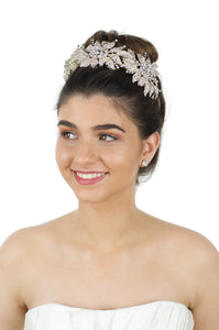 Handmade Pale Gold Bridal Tiara with hundreds of tiny stones worn by lovely smiling bride