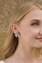 Load image into Gallery viewer, Swarovski Bridal Earring with stones of different shapes worn by a blonde bride