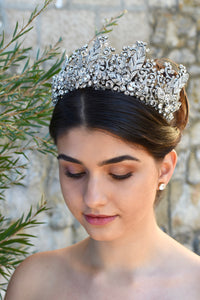 A High Tiara full of hundreds of tiny crystals worn by a dark haired Bride in a garden