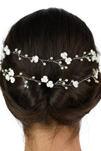 Load image into Gallery viewer, Close up of a 2 row silver vine on the back of a dark hair model with a white backdrop