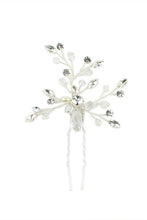 Load image into Gallery viewer, A small Bridal Hairpin with Swarovski White Opal and pearl in silver on a white backdrop