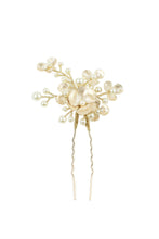 Load image into Gallery viewer, Small pearl and gold hairpin on a bright white background