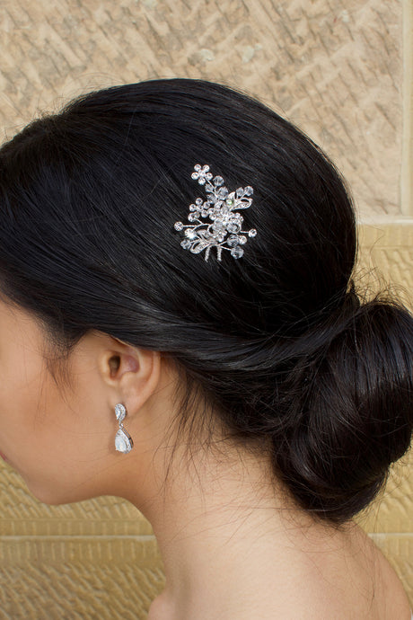 Silver and Swarovski Crystal Hair Pin worn by a dark haired bride