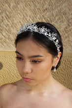 Load image into Gallery viewer, Silver Bridal Headpiece with pearls worn by dark hair bride