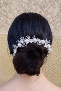 Silver Crystal Swarovski beads hair clip worn by a bride with her hair up