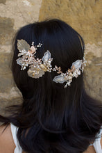 Load image into Gallery viewer, A dark haired model with hair down wears a Bridal Vine in Silver, Gold and Rose Gold