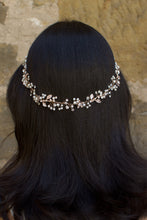 Load image into Gallery viewer, Rose Gold Vine with crystals and pearls on the back of the head of a dark hair model