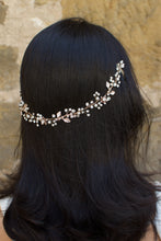 Load image into Gallery viewer, Rose Gold Long Vine with tiny leaves crystals and pearls on a dark hair model