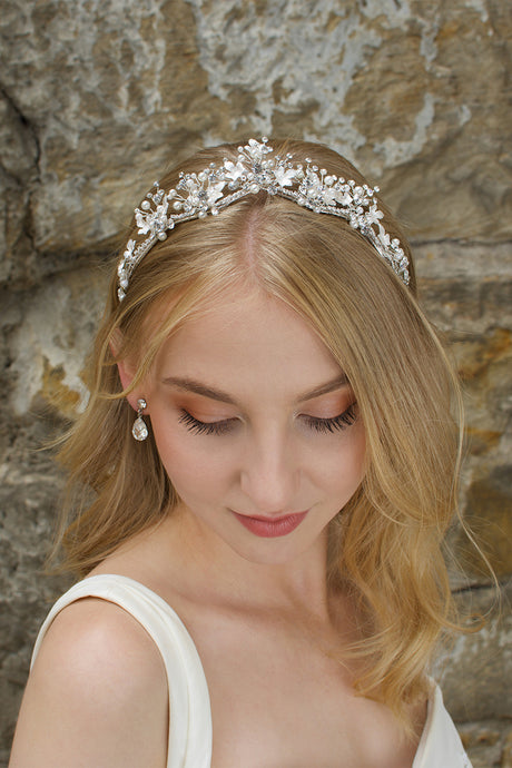 Low Bridal Headband in silver with pearls worn by blonde bride