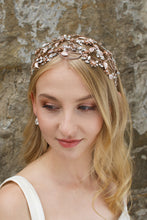 Load image into Gallery viewer, Wide Bridal Headband in Rose Gold worn by a bridal model
