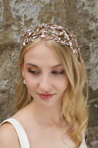 Wide Bridal Headband in Rose Gold worn by a bridal model