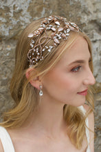 Load image into Gallery viewer, Rose Gold wide headband with clear stones worn by a blonde model