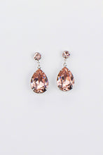 Load image into Gallery viewer, Silver earrings with vintage rose pear shape stones