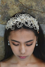 Load image into Gallery viewer, Matt Gold Wide Headband worn by a dark hair model with white opal earrings