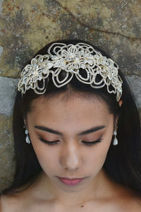 Matt Gold Wide Headband worn by a dark hair model with white opal earrings