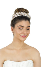 Load image into Gallery viewer, Bride with brown hair up wears a very pale gold tiara with a white background behind her