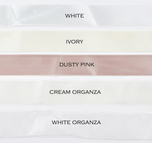 Load image into Gallery viewer, Five colours of satin ribbon are shown with the names of each colour against a white background