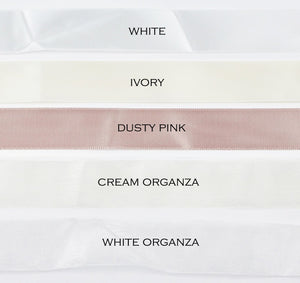 Five colours of satin ribbon are shown with the names of each colour against a white background