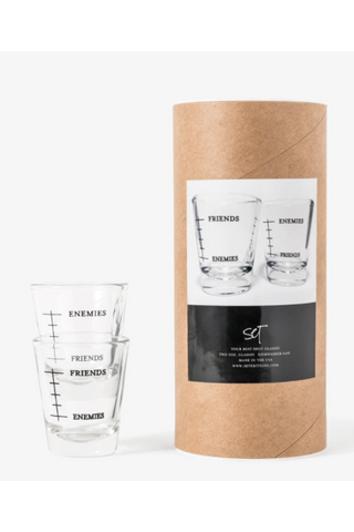 Your Best Shot Glasses, Friends and Enemies (set of 2)