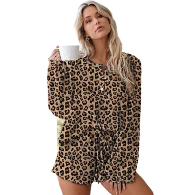 2020 Elastic Waist 2 Pcs Set Lounge Wear Pajamas - LEOPARDFAM