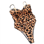 2020 High Leg Cut Swimming Leopard Print Solid One Piece Swimsuit Padded Push-up Set - LEOPARDFAM