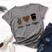 2020 Leopard Peace Love Coffee Streetwear Casual O-neck T-shirt - LEOPARDFAM