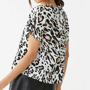 2020 Leopard Print Chiffon Blouse Casual Tops O Neck Ladies Office Shirt - LEOPARDFAM