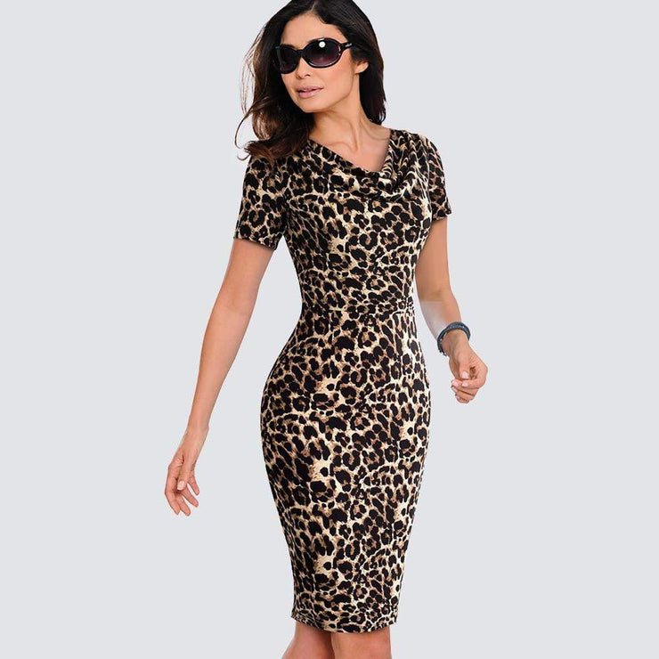 Casual Office Leopard Print Slim Summer Dress - LEOPARDFAM