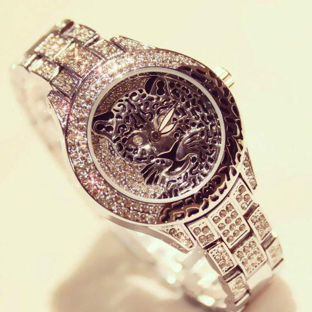 Diamond Stone Dress Steel Leopard print Wristwatch - LEOPARDFAM