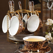 Europe Classic Leopard Print Coffee Cups And Saucers - LEOPARDFAM