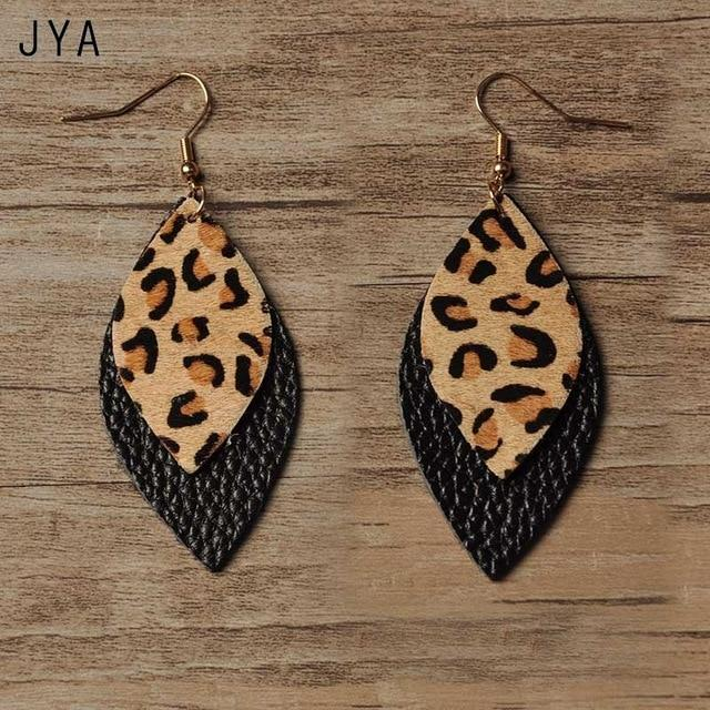 Fashion Leather Tassel Geometric Leopard Dangle Earrings - LEOPARDFAM