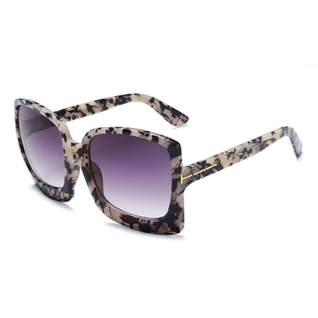 Fashion Oversized Women UV400 Sunglasses Plastic Big Frame - LEOPARDFAM