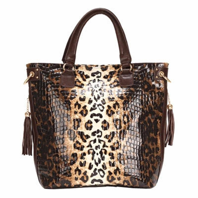 Genuine Leather Leopard Print Handbag Shoulder Cross Body Bags - LEOPARDFAM