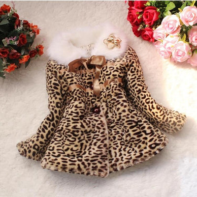 Girls Winter Leopard Print Jacket - LEOPARDFAM