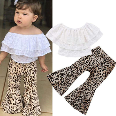 Kids Sleeveless Ruffle Tops Flared Leopard Pants Clothes - LEOPARDFAM