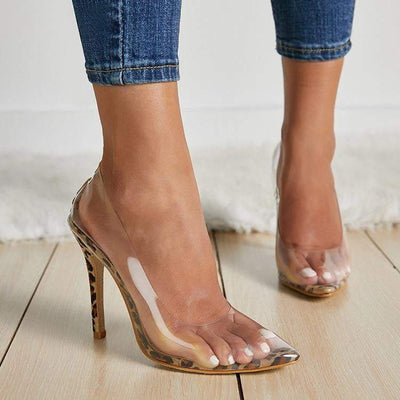 Leopard Grain High Heels - LEOPARDFAM