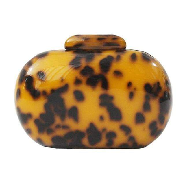 Leopard Print Oval Acrylic Purse - LEOPARDFAMBags