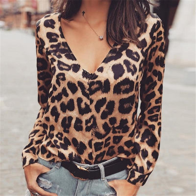 Leopard Print Casual Long Sleeve V Neck Shirt - LEOPARDFAM