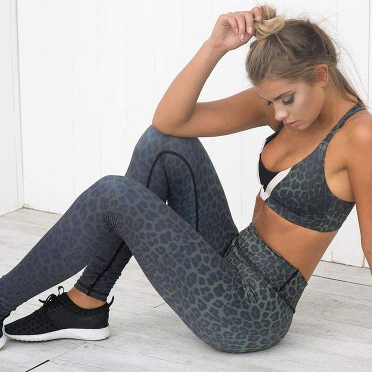 Leopard Print High Waist Workout Leggings - LEOPARDFAMLeggings