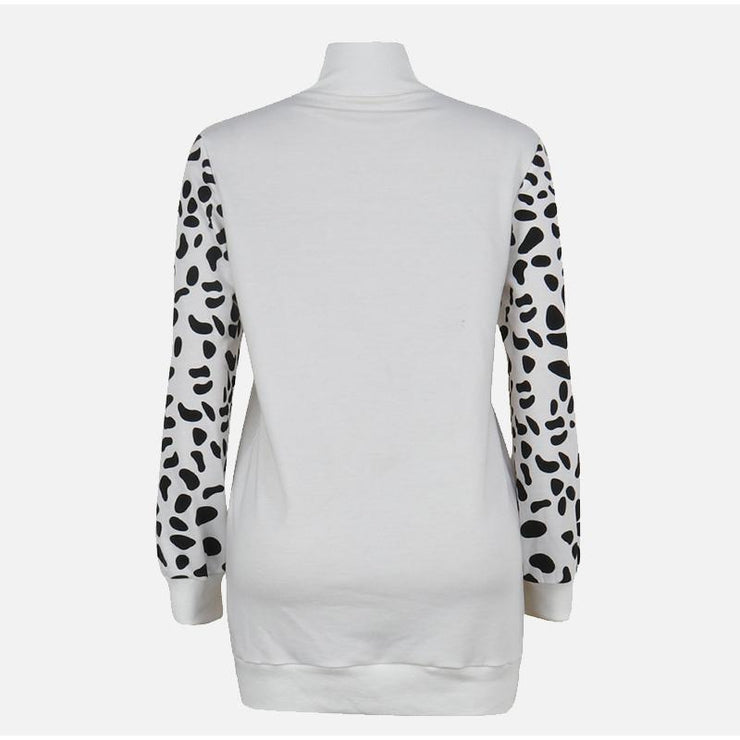 Leopard Print Long Sleeve Patchwork Sweatshirts - LEOPARDFAM