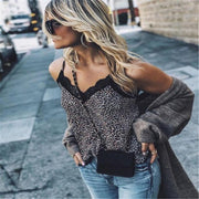 Leopard Printed Top Sleeveless V Neck Tanks T-shirt - LEOPARDFAM