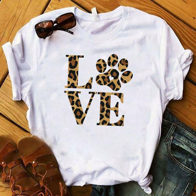 Love Dog Leopard Printed Summer Letters Female T Shirt - LEOPARDFAM