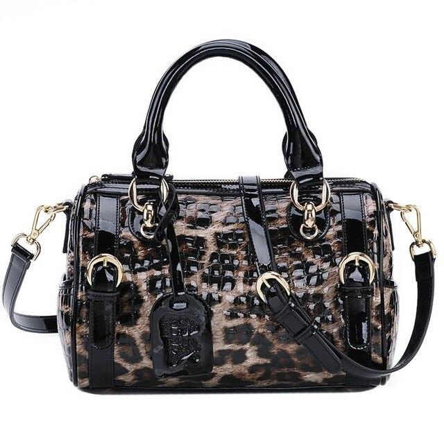 Luxury Cowhide Leather Leopard Shoulder Crossbody HandBags - LEOPARDFAM
