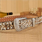 Luxury Rhinestones Print PU Leather Belts - LEOPARDFAM